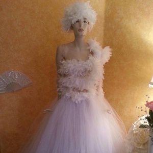 Sebrina Love / Sebrina Love Bridals Accessories - 60's Style White Chandelle Feather Hat Headpiece